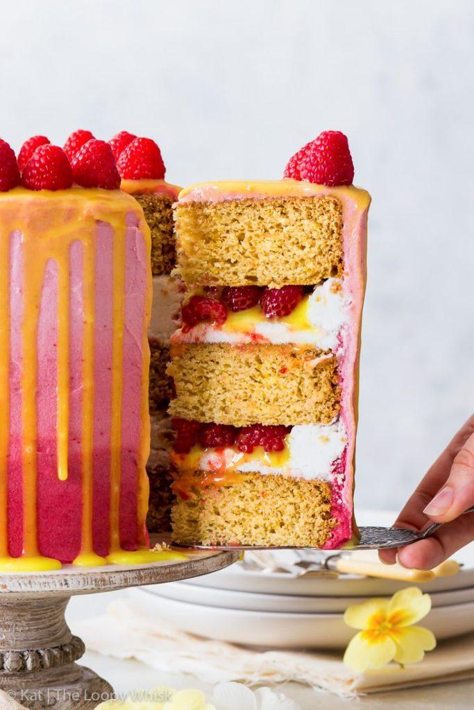 THE LOOPY WHISK VEGAN RASPBERRY LEMON CAKE