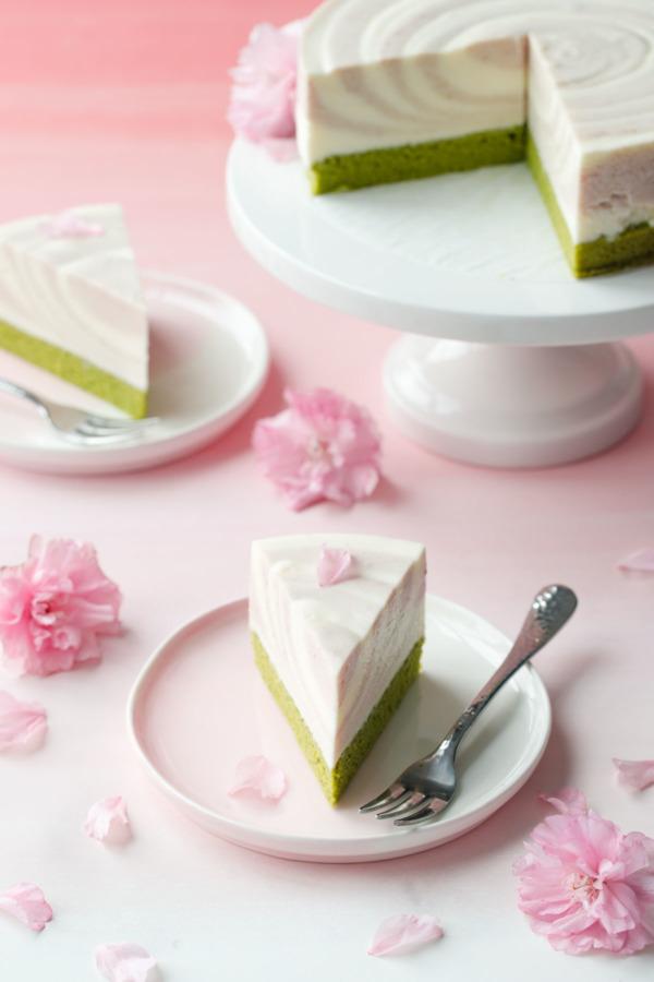 LOVE AND OLIVE OIL SAKURA MATCHA MOUSSE CAKE