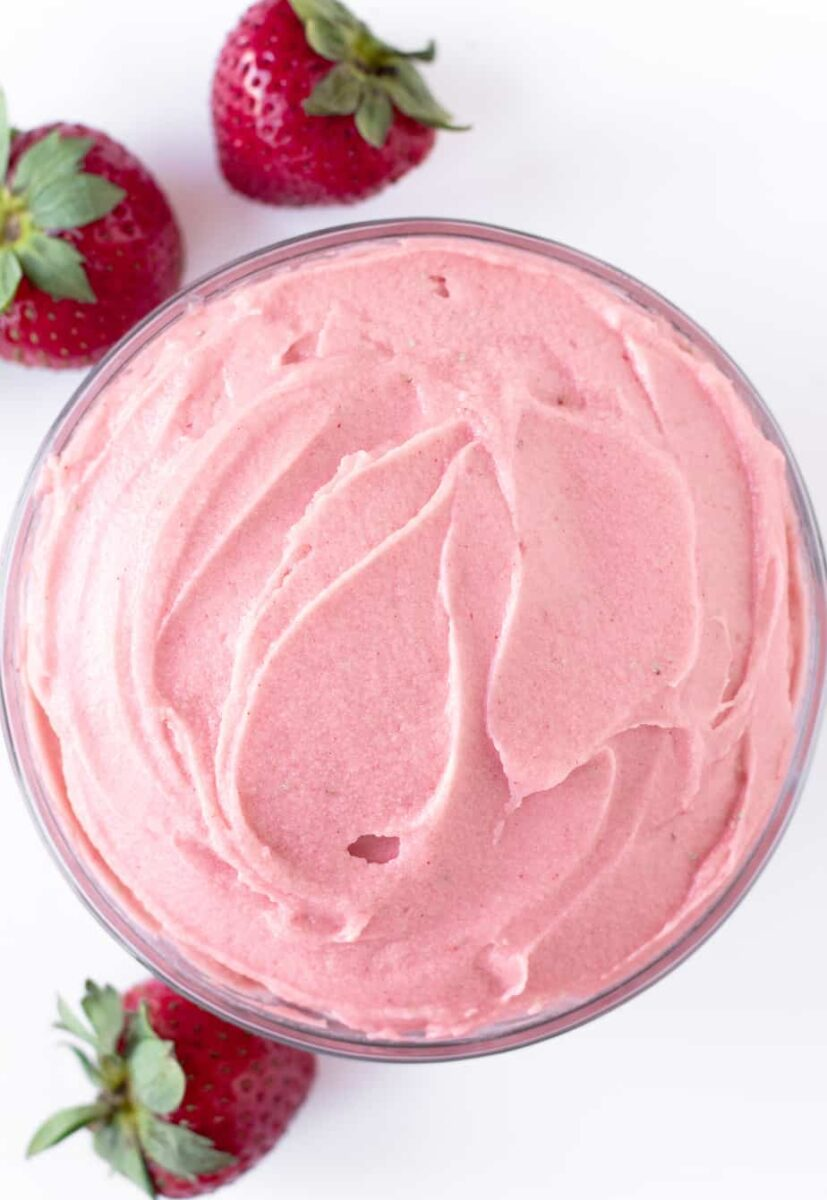 Bowl of Strawberry Whipped Buttercream Frosting