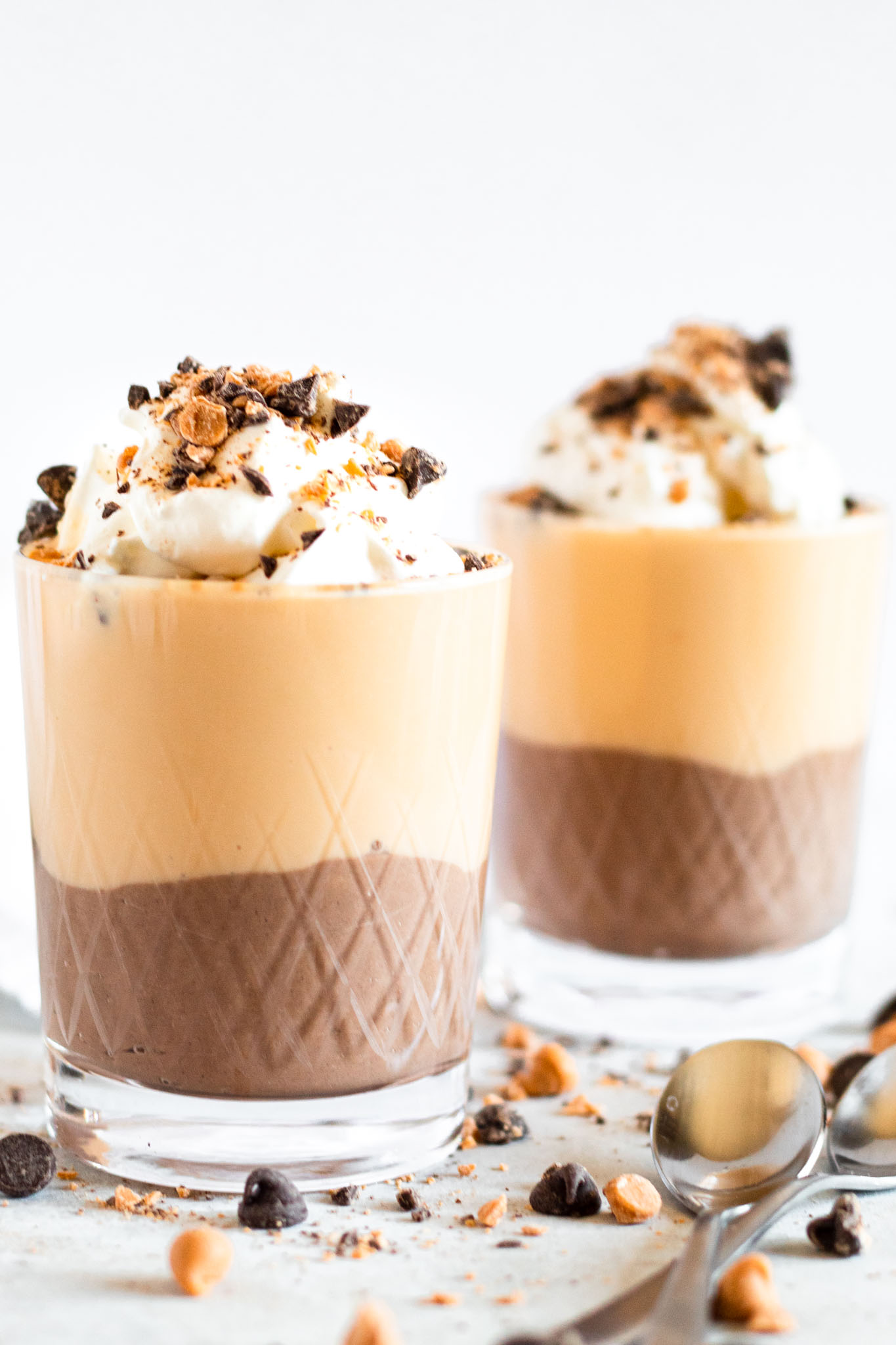Two Serving Glasses of Layered Pudding Parfaits