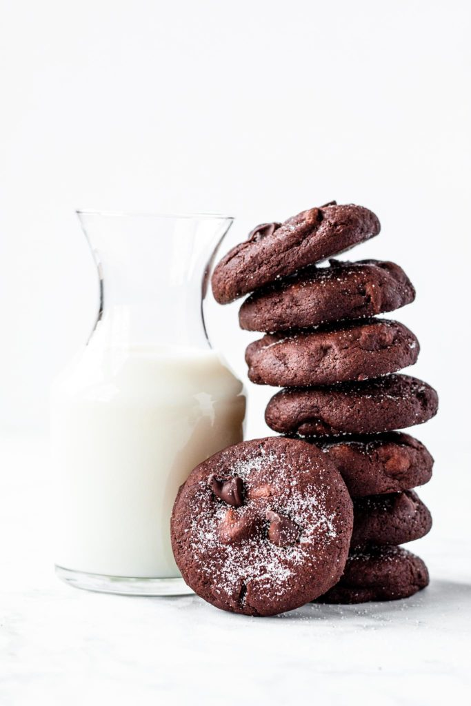 Curved Stack of Double Chocolate Cookies