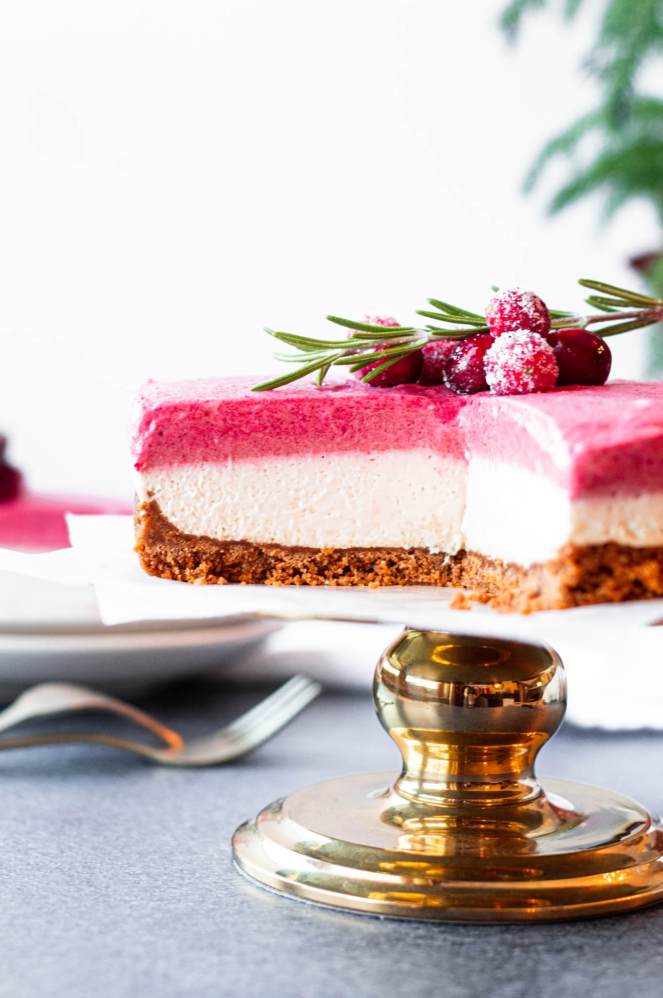 Sliced Cranberry Mousse Cheesecake