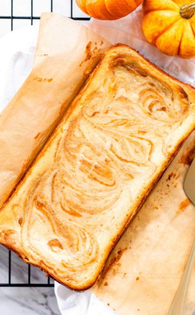 Creamy Pumpkin Swirl Cheesecake Baked in Loaf Pan