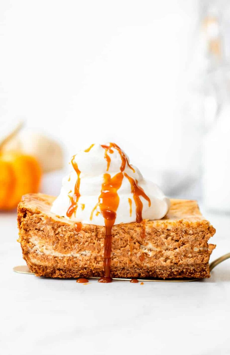 Slice of Pumpkin Swirl Cheesecake - fall dessert idea