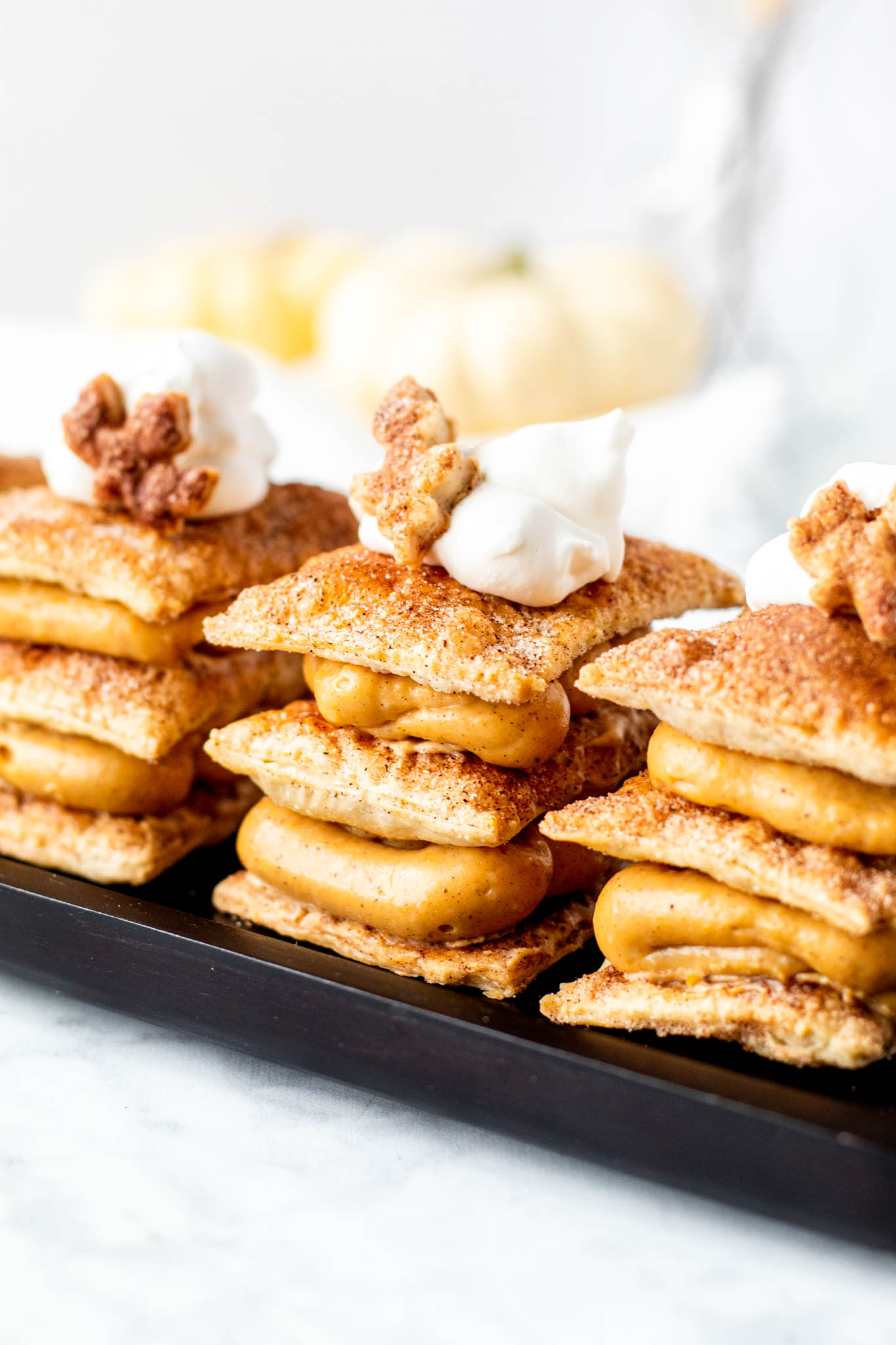 Delicious Side View of Pumpkin Cream Napoleans