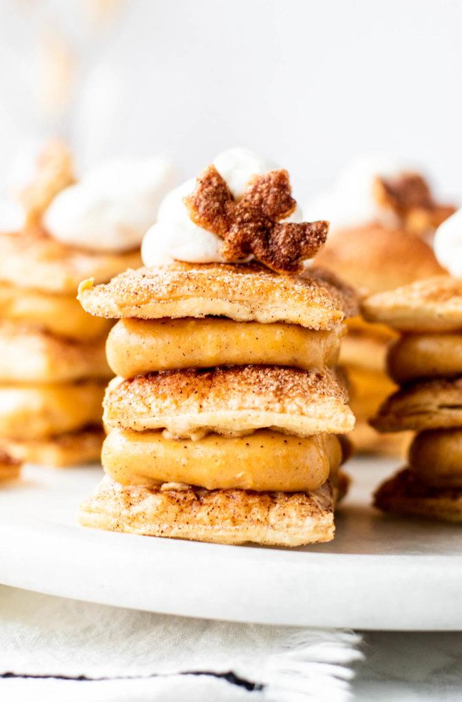 Tray of pumpkin napoleon pastries - fall dessert idea