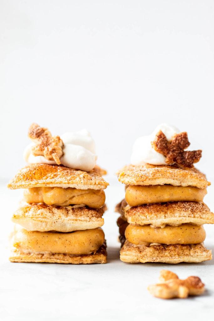Set of Pumpkin Pudding Napolean Desserts - 15 Fall Dessert Ideas