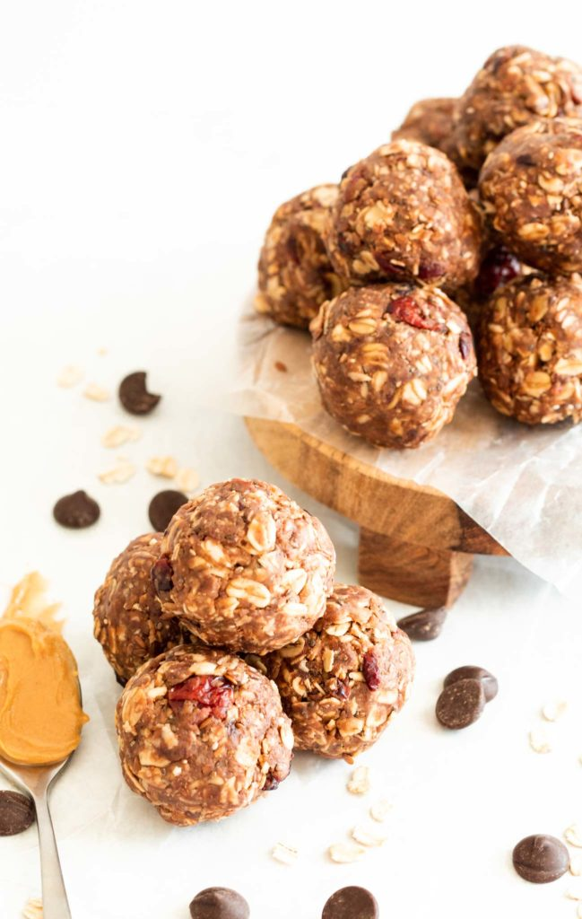 Peanut Butter Cranberry and Chocolate Energy Bites