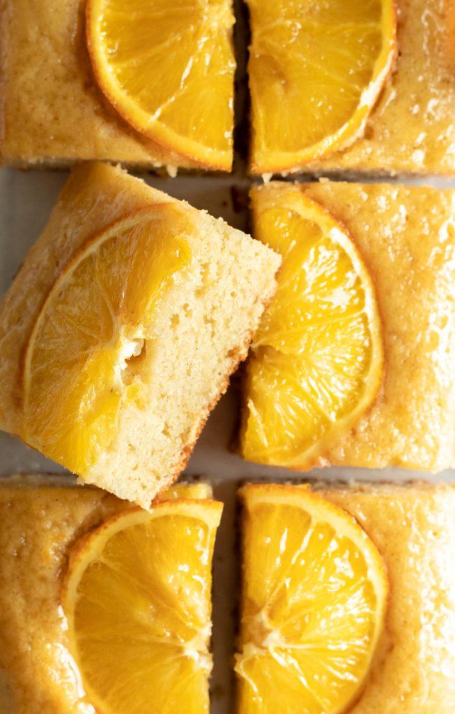 Delicious Slices of Honey Orange Snack Cake