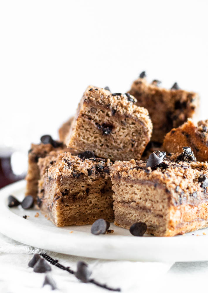 Banana Bread Coffee Cake with Chocolate Streusel