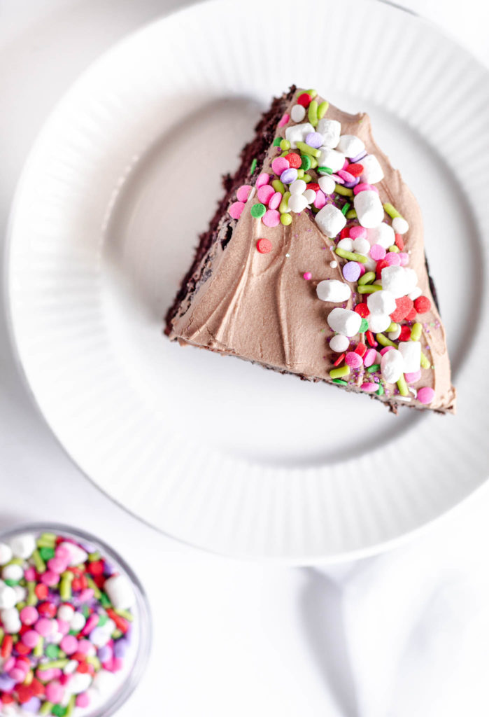 Slice of Frosted Chocolate Cake