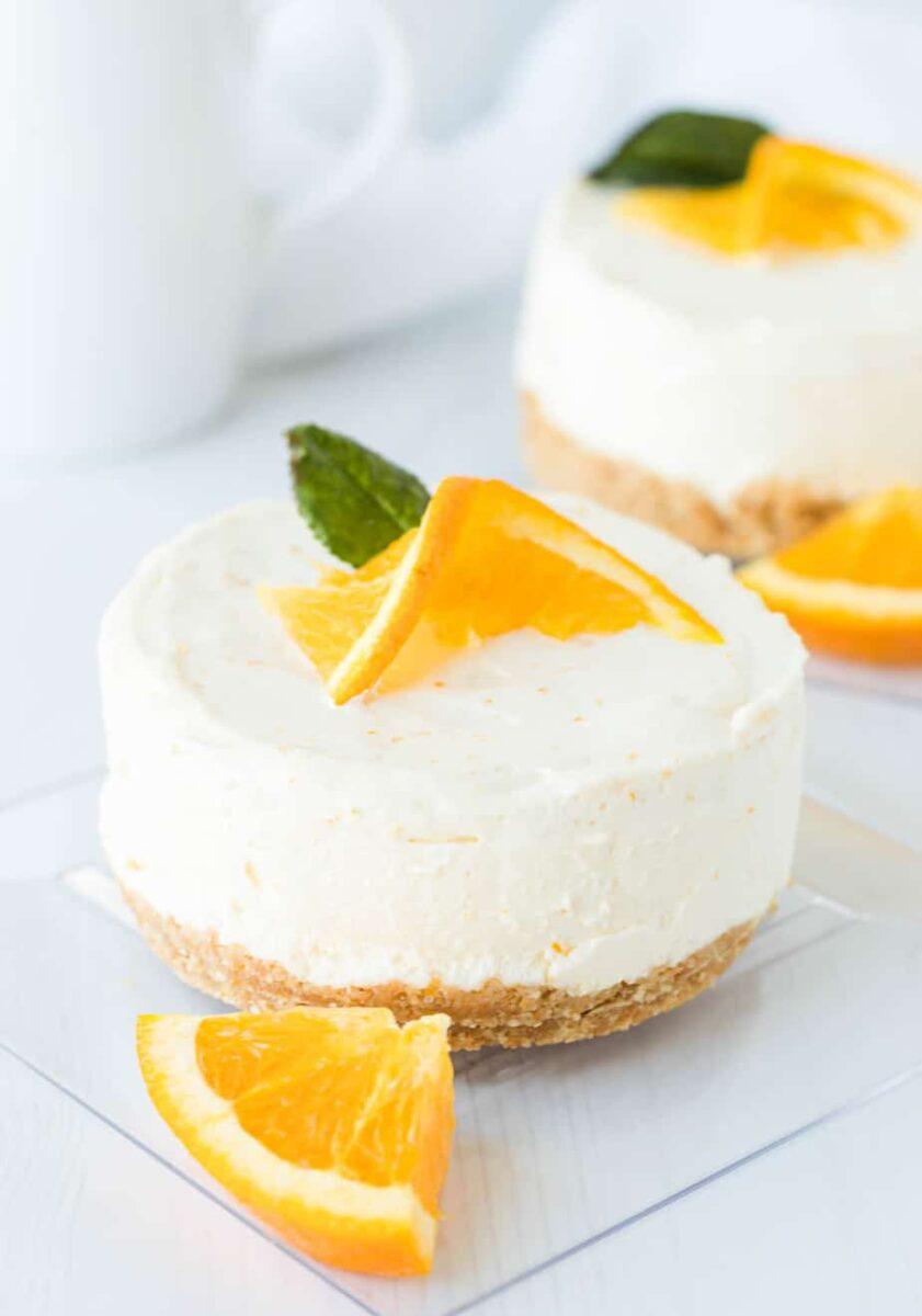 Mini Orange Creamsicle No-Bake Cheesecake