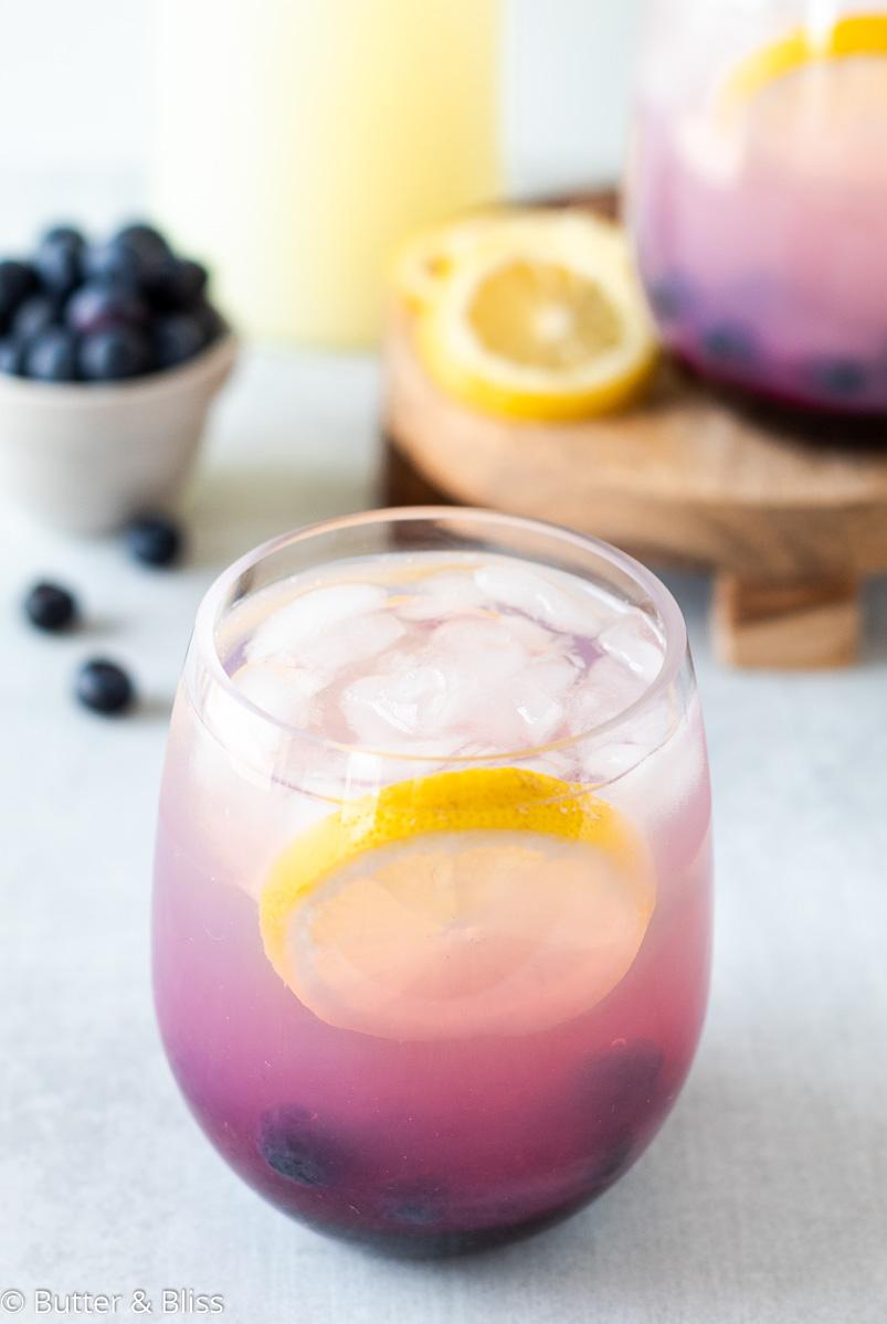 Glass of refreshing blueberry lemonade