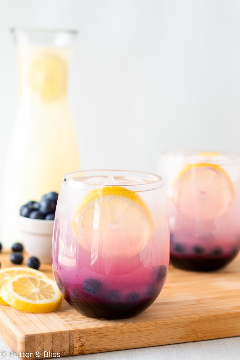 Tray of glasses of blueberry lemonade