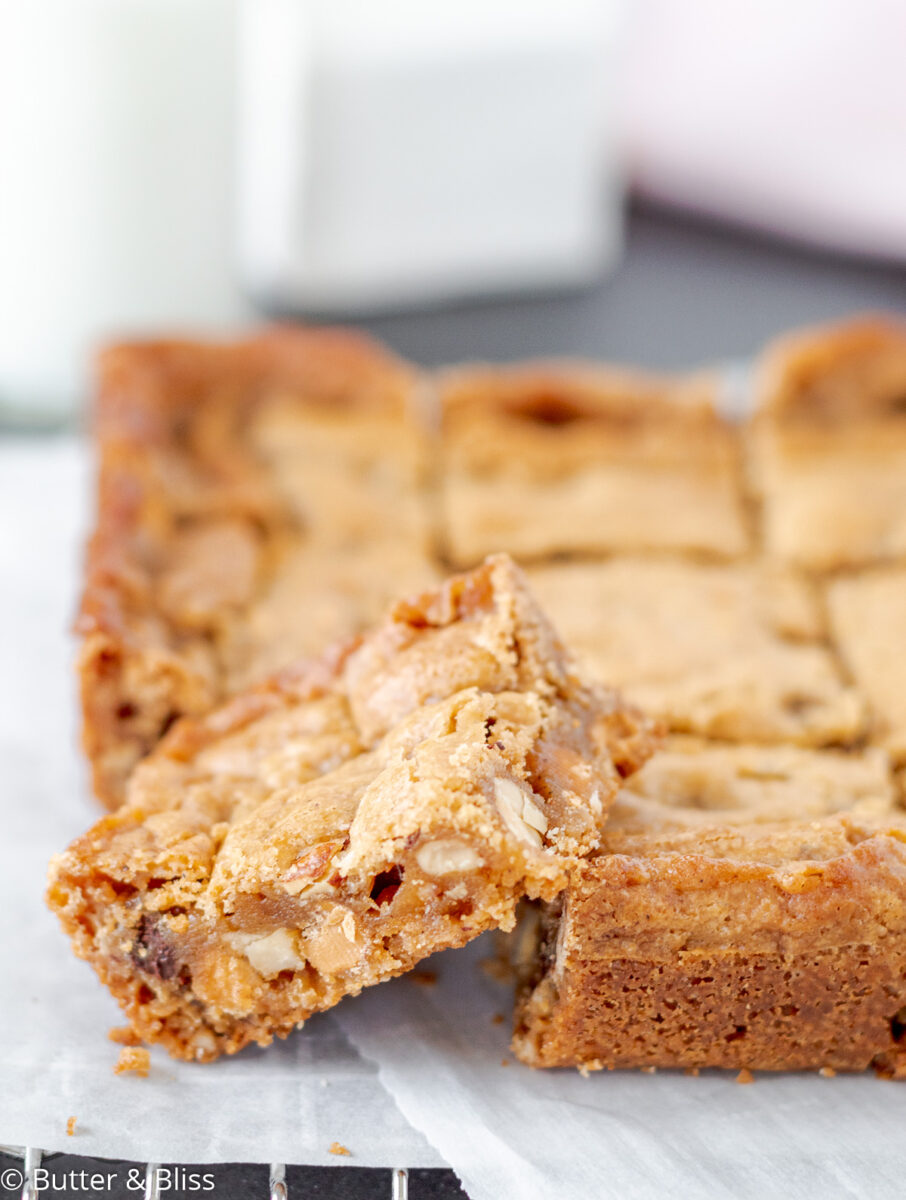 Close up of nutty butterscotch blondie