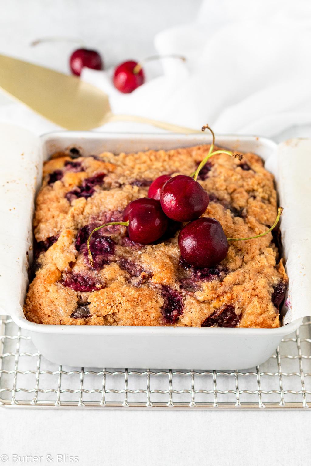 Fresh tray of cherry coffee cake