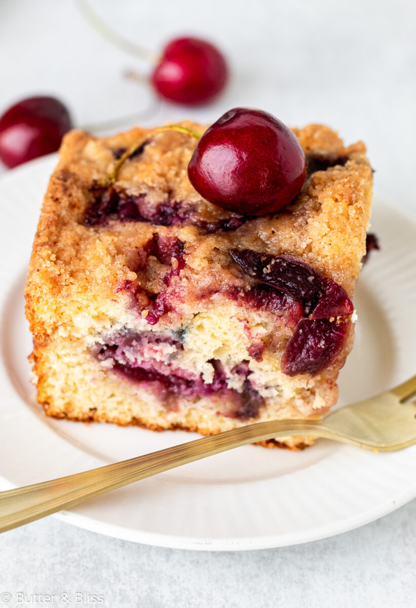 Single serving of fresh cherry breakfast cake