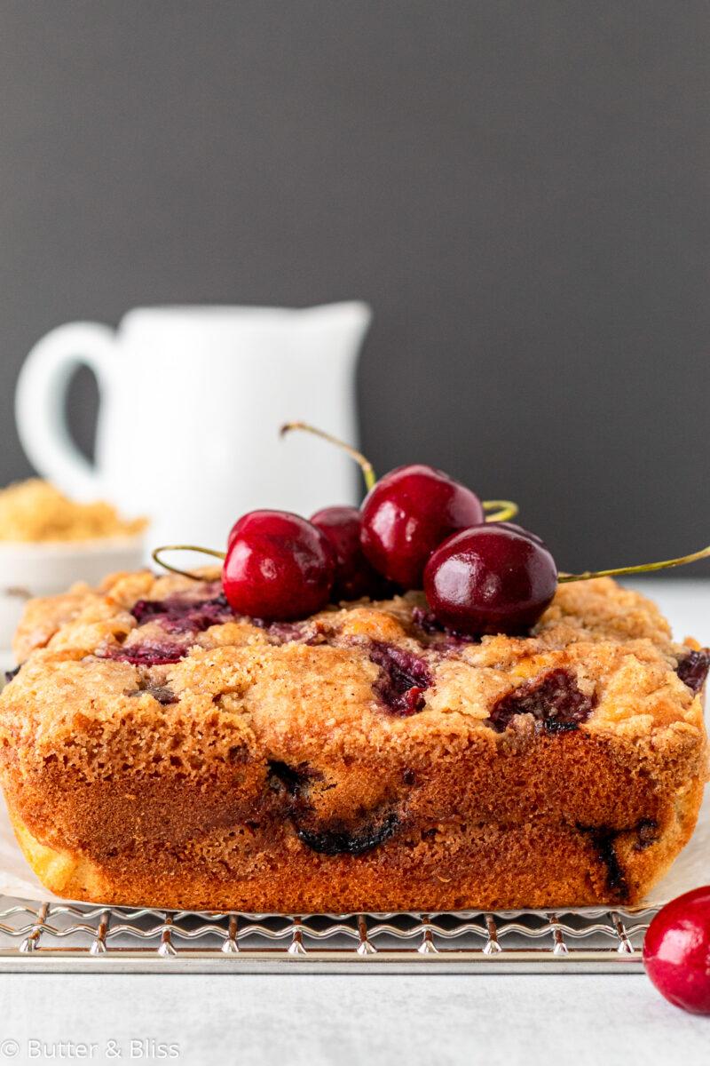 Close up of freshly baked breakfast cake