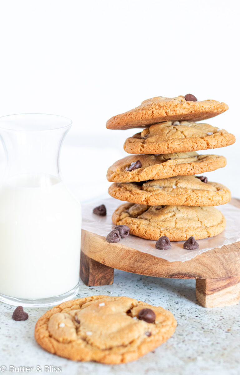 A stack of caramel stuffed chocolate chip cookies for a fall dessert