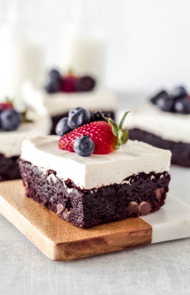 Fudgy Brownies with Whipped Topping