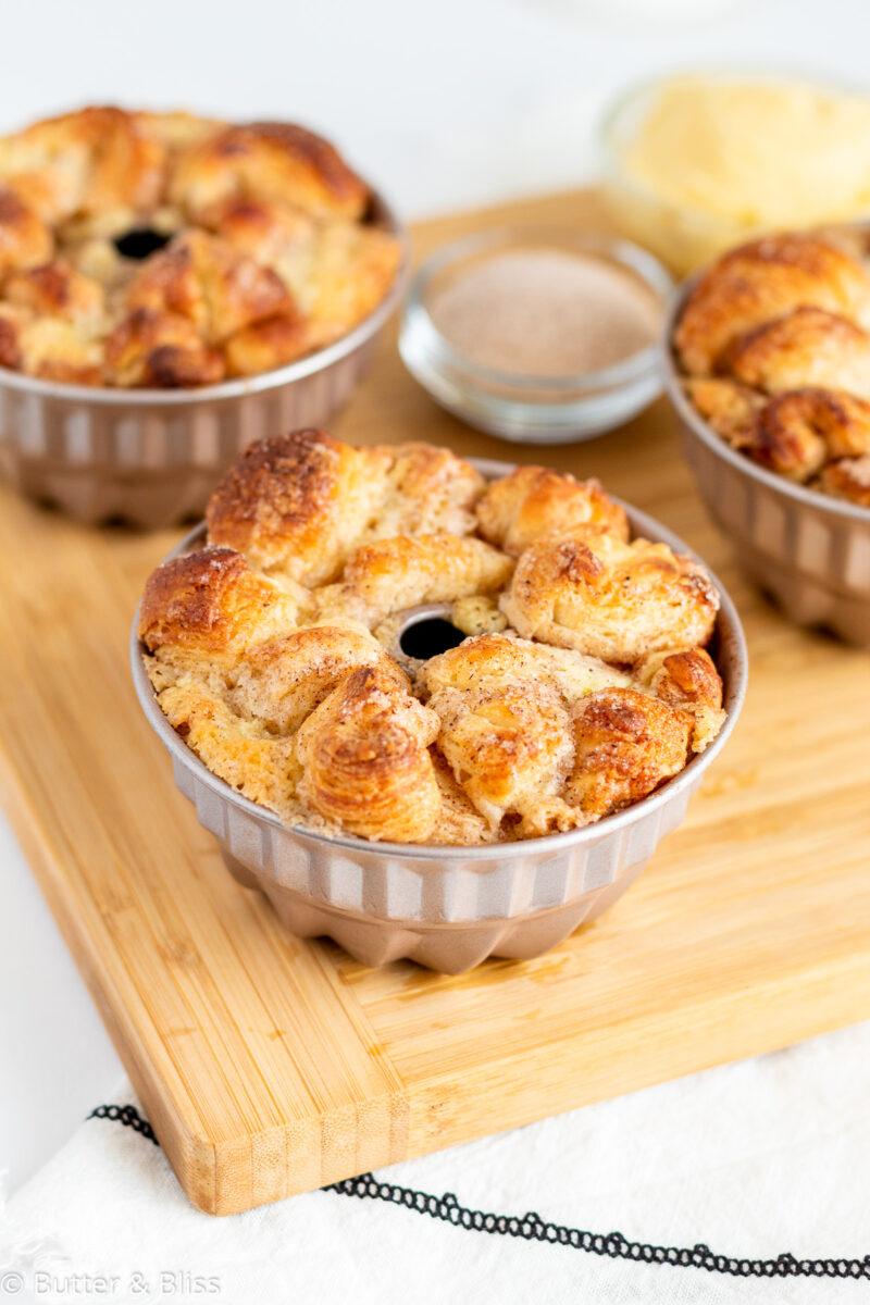 Mini bundt pans of almond cream monkey bread