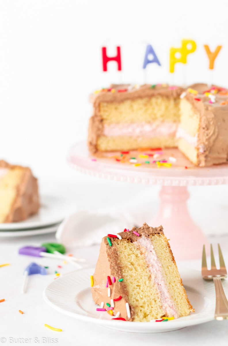 Frosted yellow birthday cake