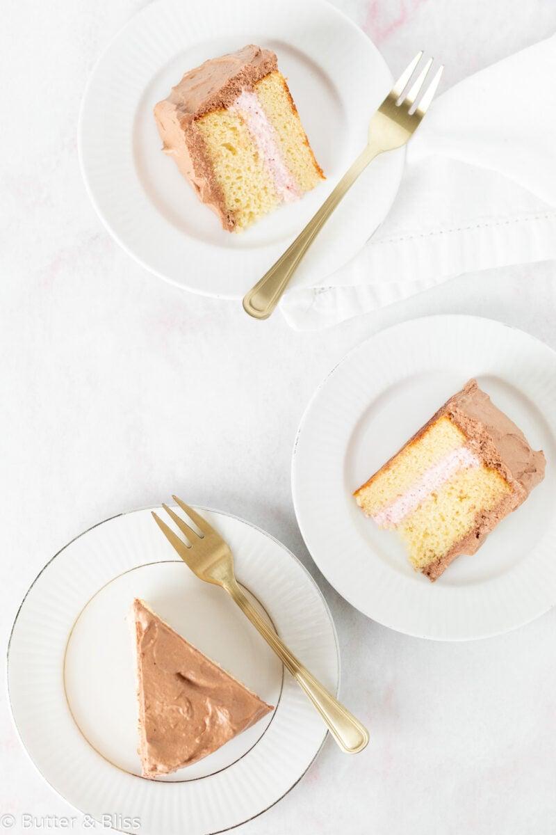 Slices of mini yellow cake