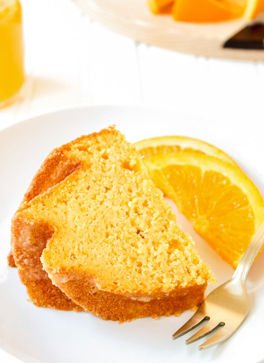 A slice of orange butter cake