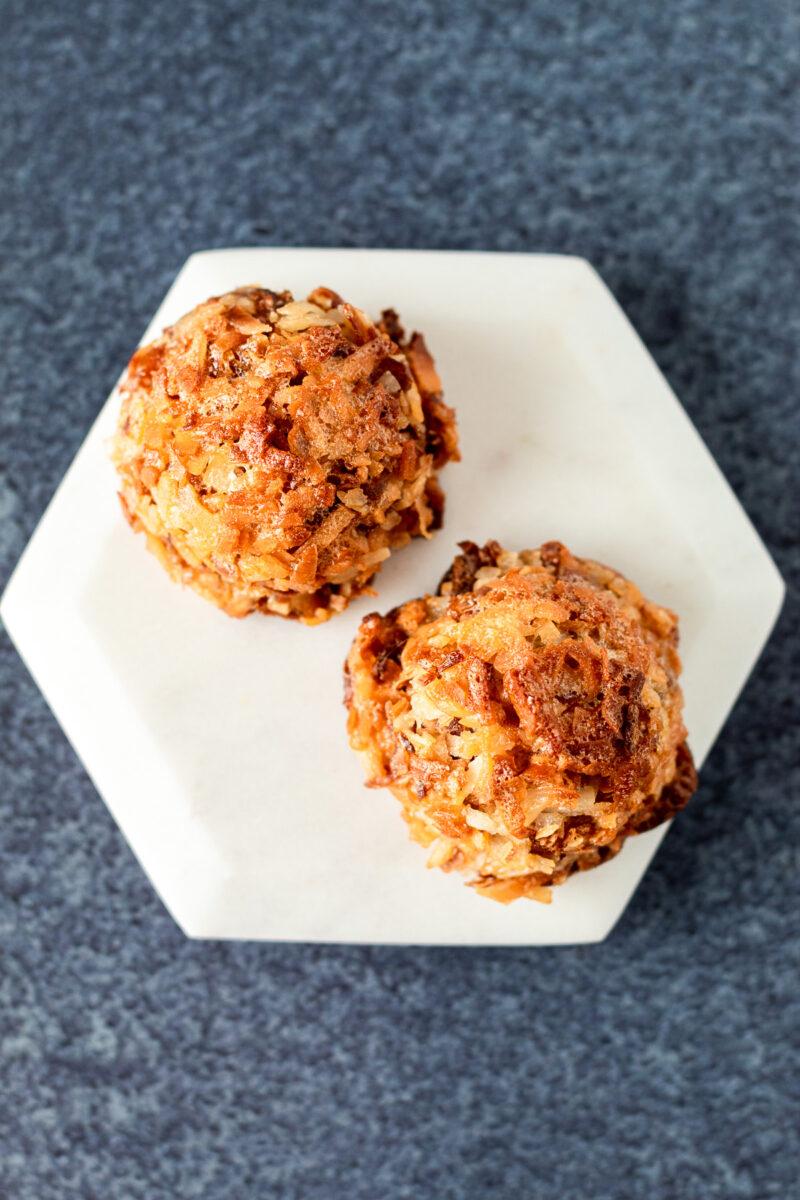 Two coconut macaroon cookies