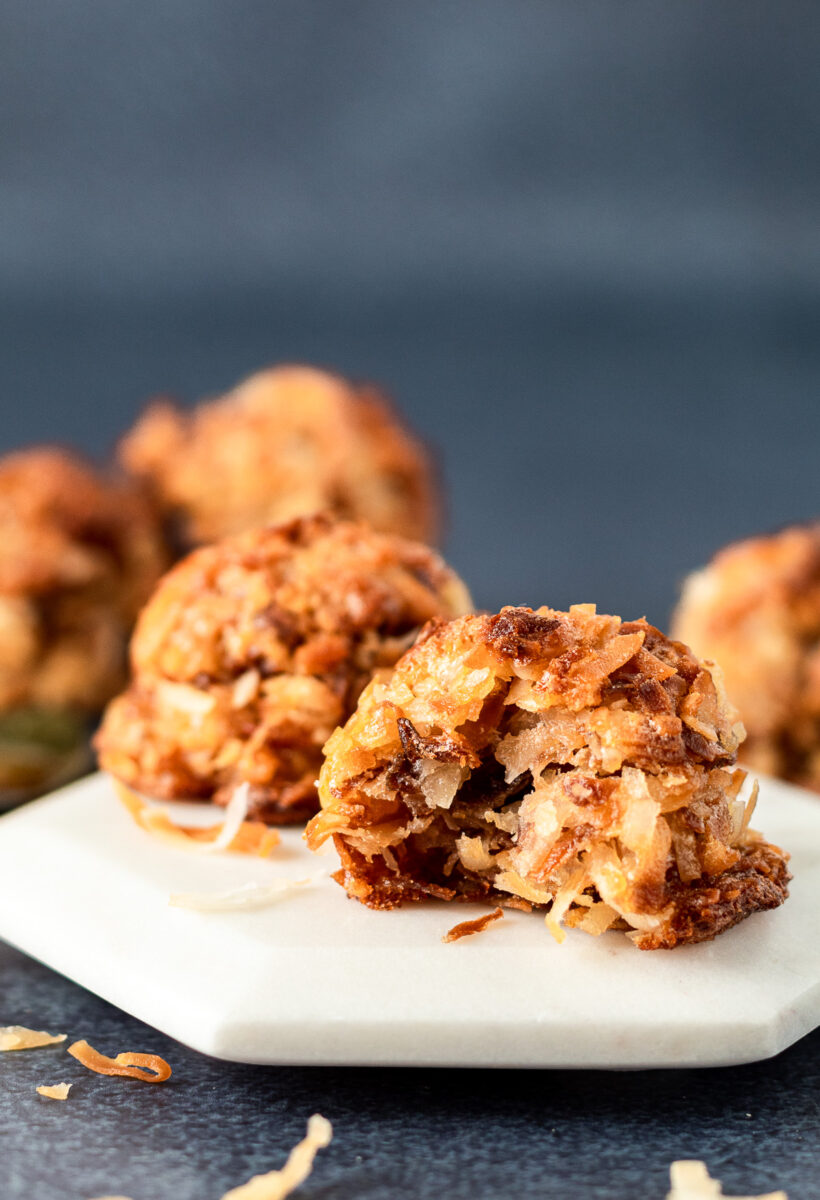 Close up of coconut macaroon