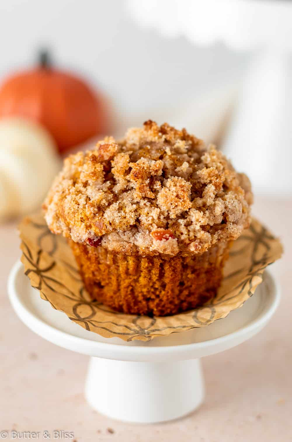 Pumpkin muffin on a small serving dish