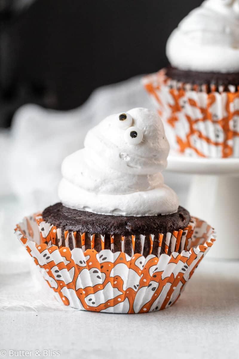 Cute Halloween ghost chocolate cupcake