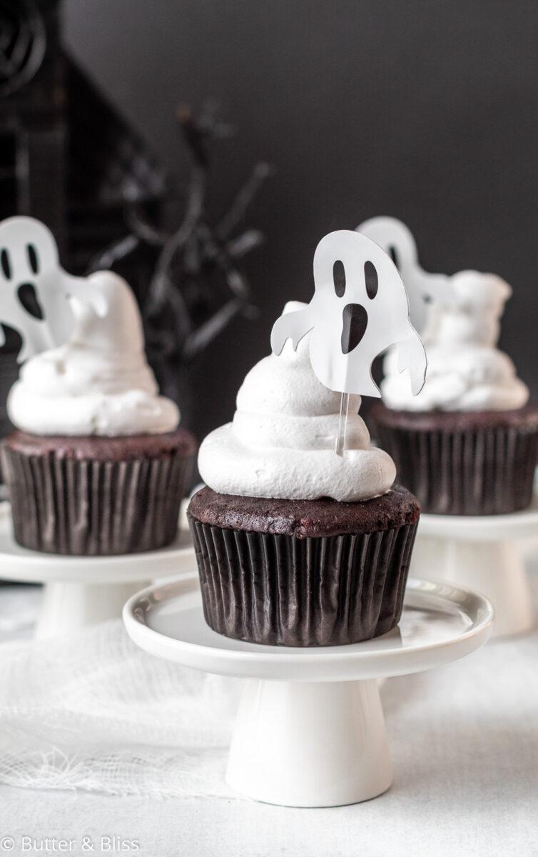 Chocolate Halloween cupcake on cupcake stand