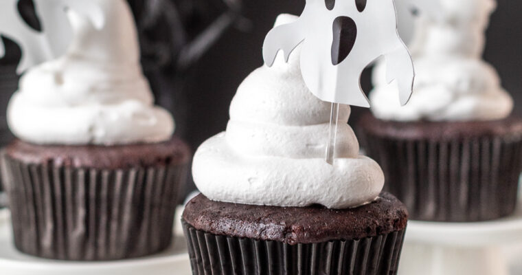Chocolate Halloween Cupcakes with Spooky Filling