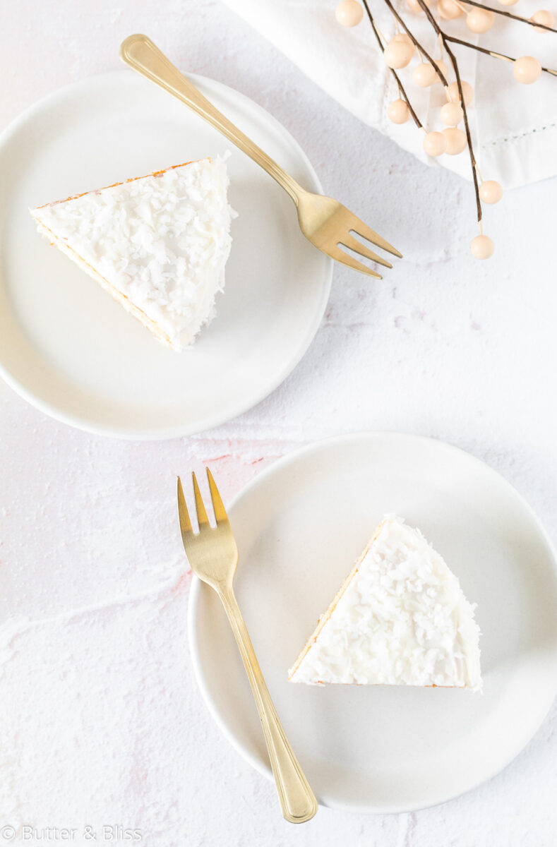 Two slices of coconut cardamom cake