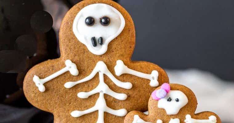 Gingerbread Halloween Skeleton Cookies