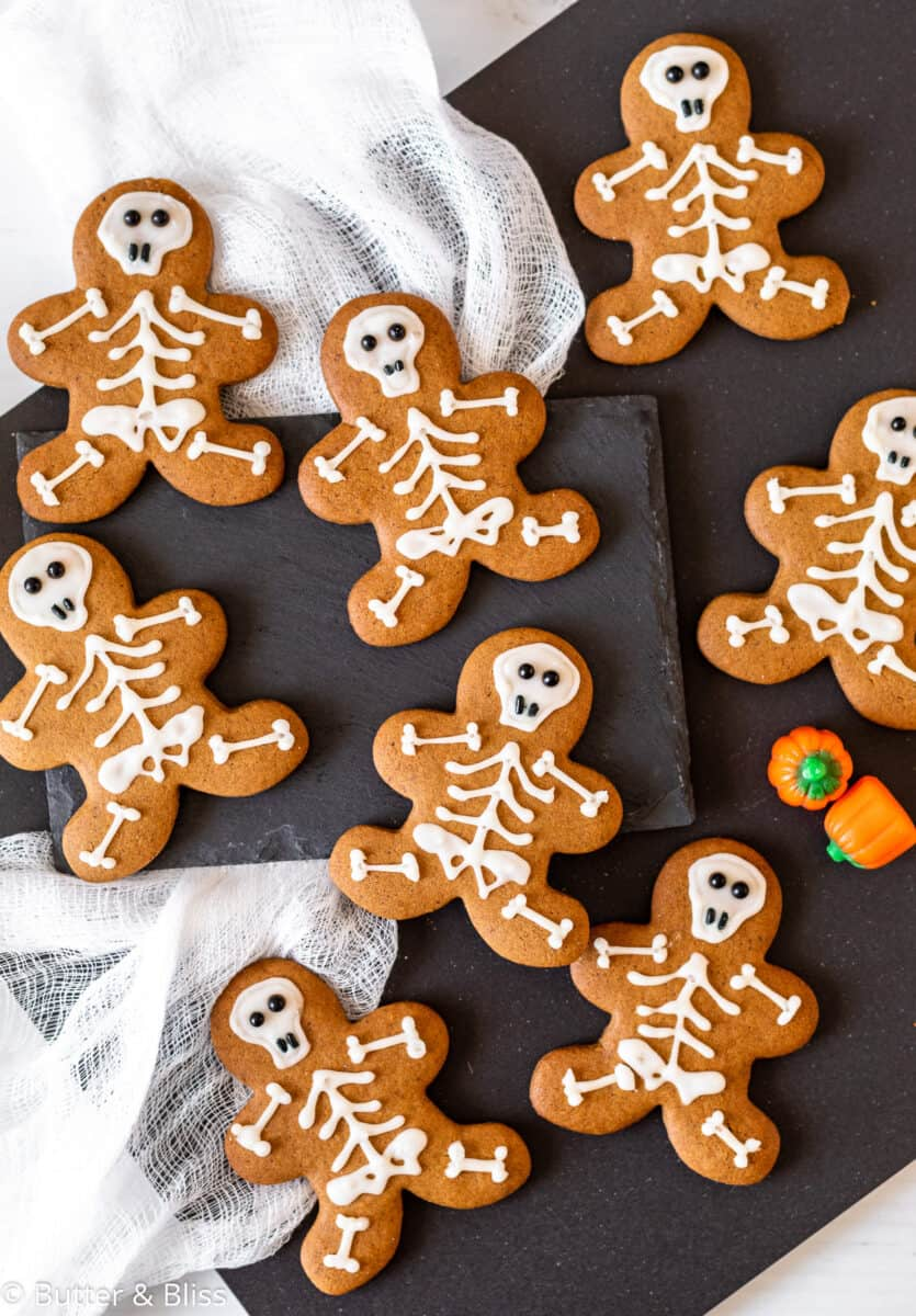 A tray of decorated Halloween cookies