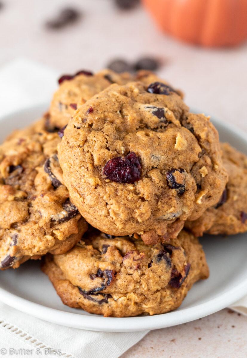 A plate of pumpkin oatmeal cookies