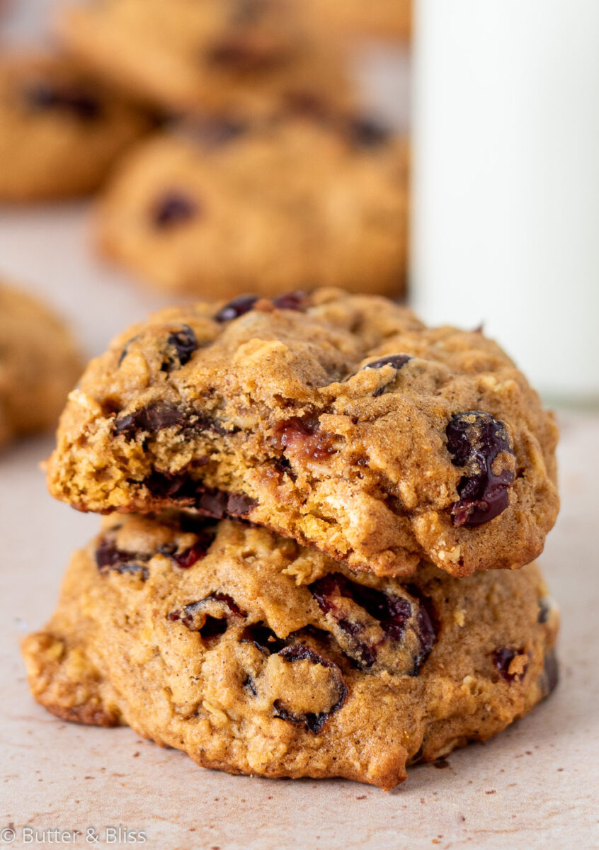 Pumpkin oatmeal cookie with a bite