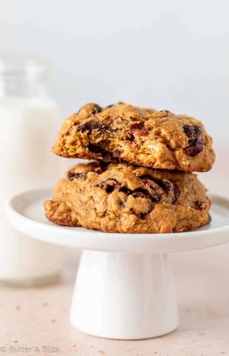 A small stack of pumpkin oatmeal cookies