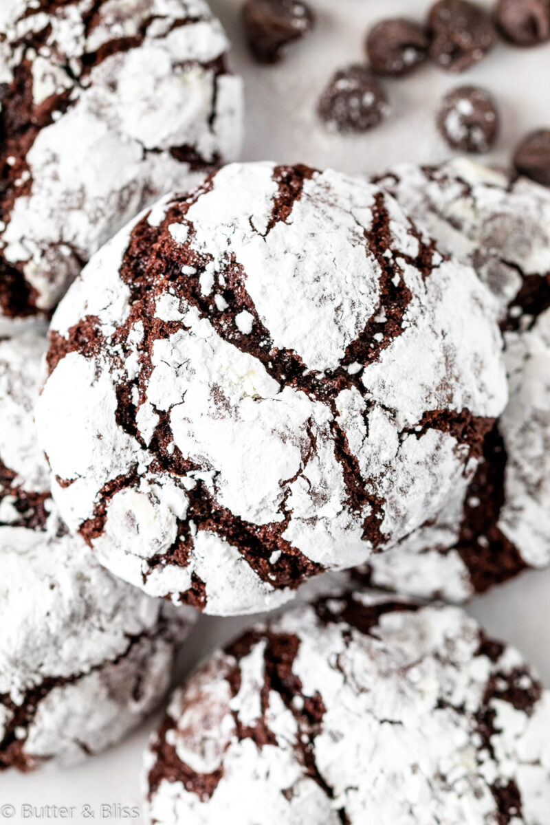 Close up of a chocolate crinkle cookies