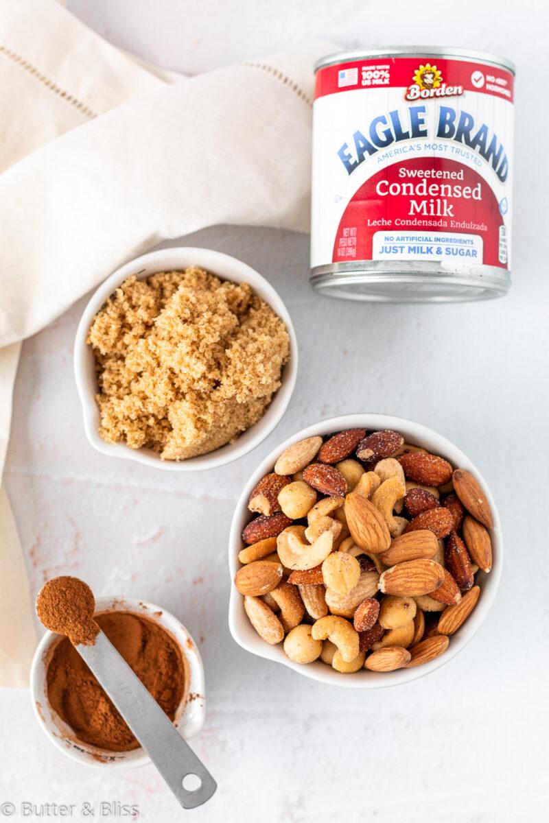 Ingredients in caramel nut crumble bars
