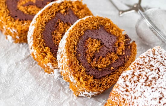 Pumpkin Roll Cake with Chocolate Filling