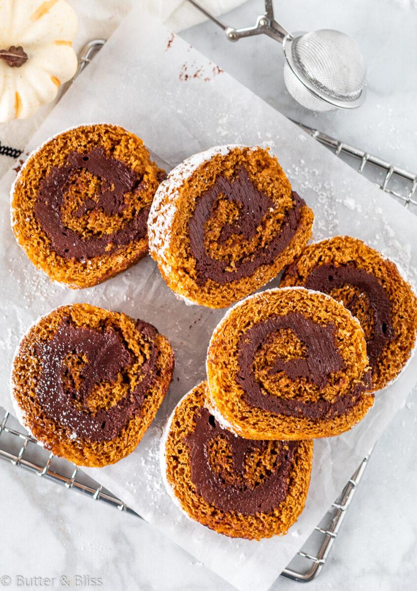 Pumpkin cake rolll slices