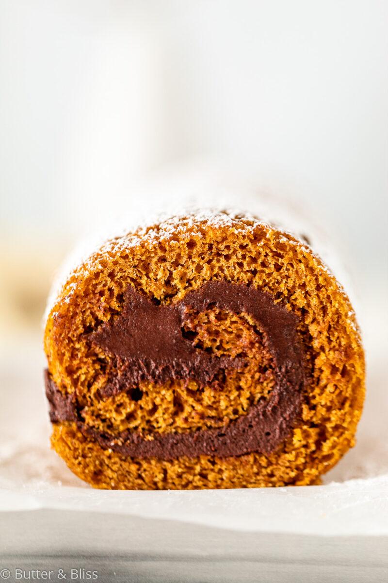 Pumpkin roll cake swirl