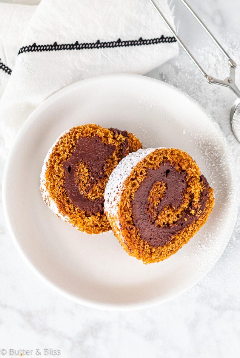 Pumpkin and chocolate cake on a plate