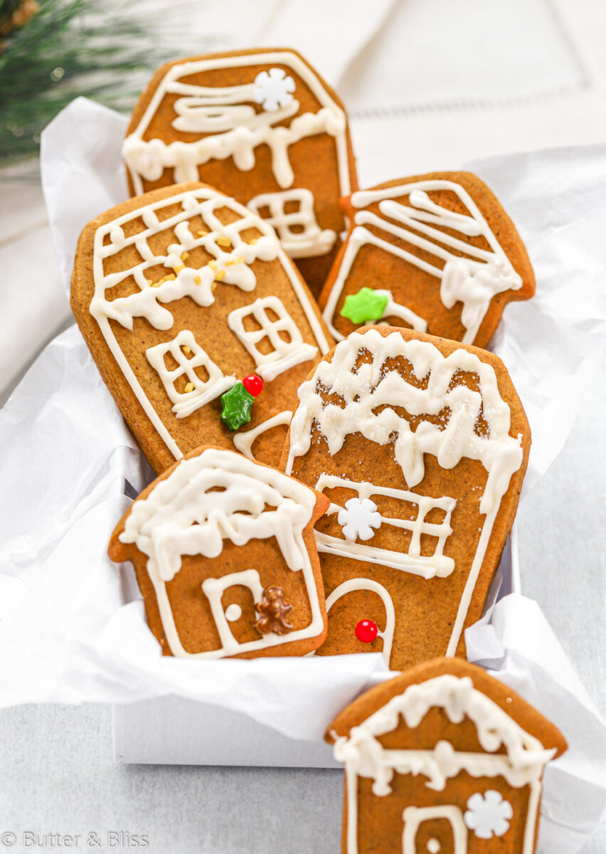 A box of gingerbread cookies