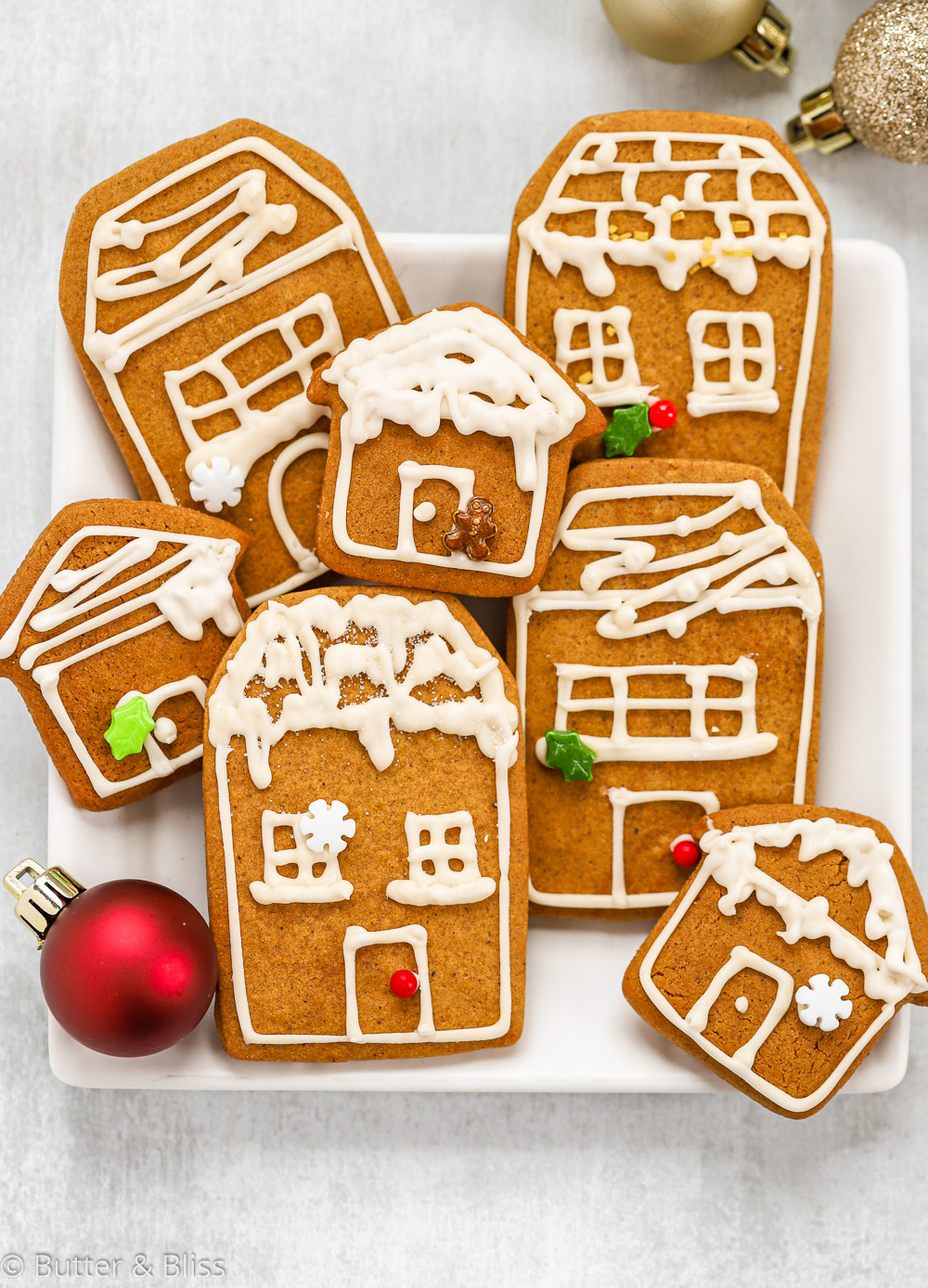 Holiday gingerbread cookies with royal icing