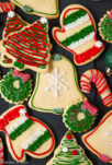 A platter of decorated holiday sugar cookies