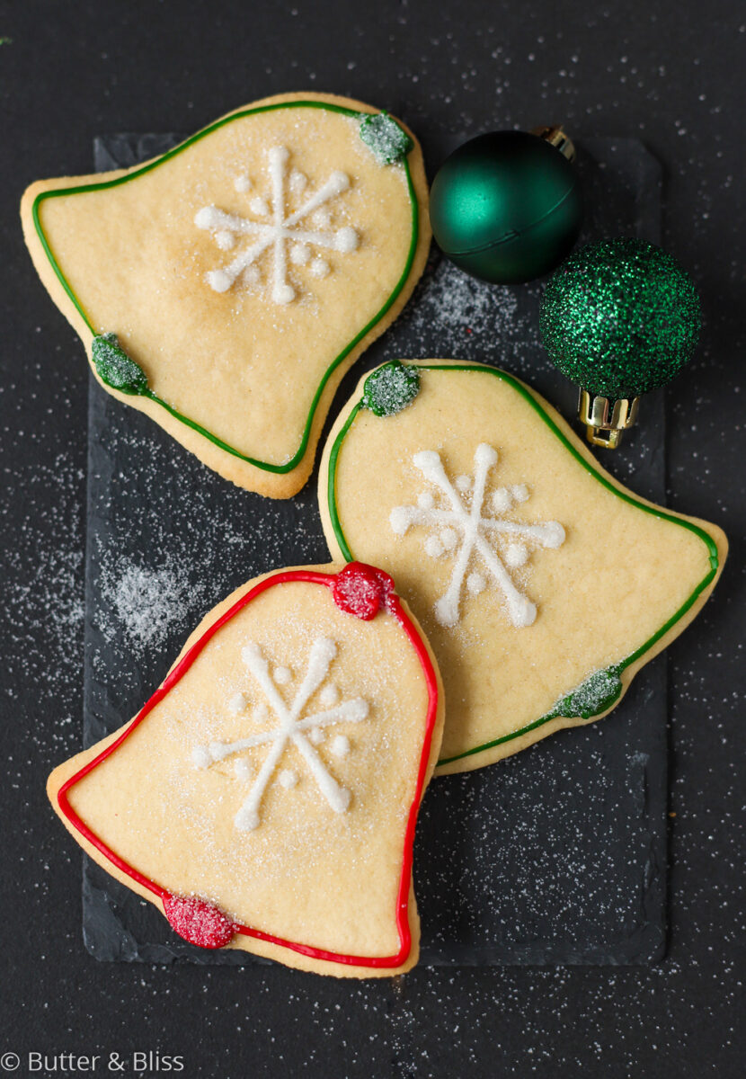 Decorated bell christmas sugar cookies